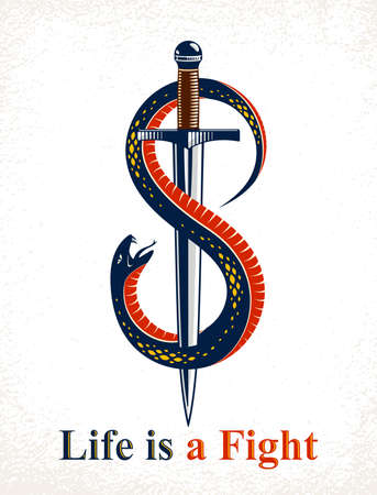 Dagger kills a Snake, defeated Serpent wraps around a sword vector vintage tattoo, Life is a Fight concept, allegorical logo or emblem of ancient symbol. Logó