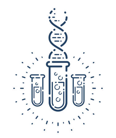 Test tube and DNA strand vector simple linear icon, science biology biotechnology and medicine analysis line art symbol, laboratory research.