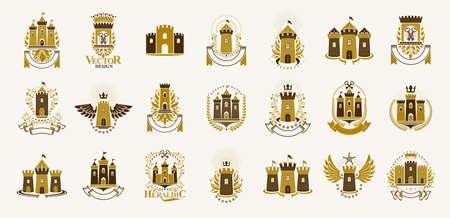 Vintage castles vector logos or emblems, heraldic design elements big set, classic style heraldry architecture symbols, antique forts and fortresses.