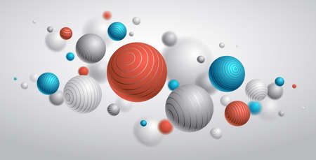 Realistic lined spheres vector illustration, abstract background with beautiful balls with lines and depth of field effect, 3D globes design concept art.