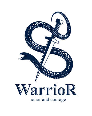 Snake and Dagger, Serpent wraps around a sword vector vintage tattoo, Life is a Fight concept, allegorical logo or emblem of ancient symbol.