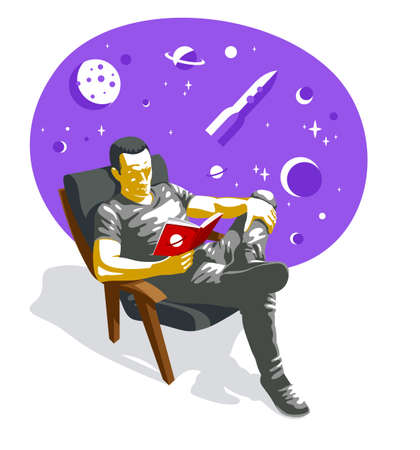 Young man reading fantastic book about space travel vector illustration isolated, fiction literature about fantastic cosmos adventures on a rocket.