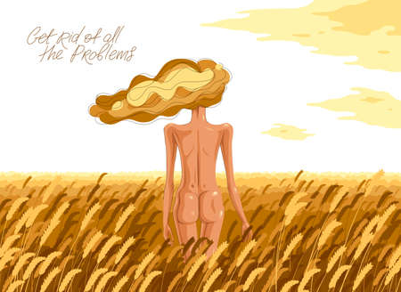 Slim young girl from back stands in a wheat field vector illustration, tranquil scene relax and rest concept, get rid of all the problems. 矢量图像