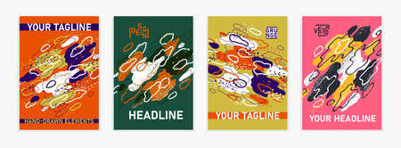 Artistic brochures vector abstract designs set with hand drawn elements, stylish colorful art abstraction covers for magazines or flyers, leaflets or advertising posters templates collection. 일러스트