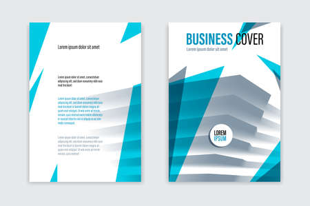 Flyer business trendy corporate style vector design with front and back pager A4 format, modern leaflet cover or presentation template, abstract background with big office building. Vektorové ilustrace