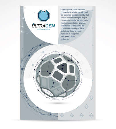 Digital innovations business promotion idea, brochure head page. Abstract geometric 3d monochrome wireframe object, vector illustration.