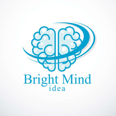 Bright Mind icon with human anatomical brain. Thinking and brainstorming concept.