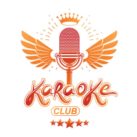 Nightclub karaoke advertising poster composed with winged stage microphone vector illustration and royal crown placed on it. Superstar performance advertising announcement.