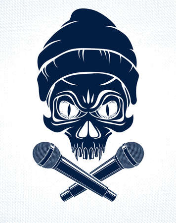 Rap music emblem with aggressive skull and two microphones crossed like bones, Hip Hop rhymes festival concert or night club party label, t-shirt print.