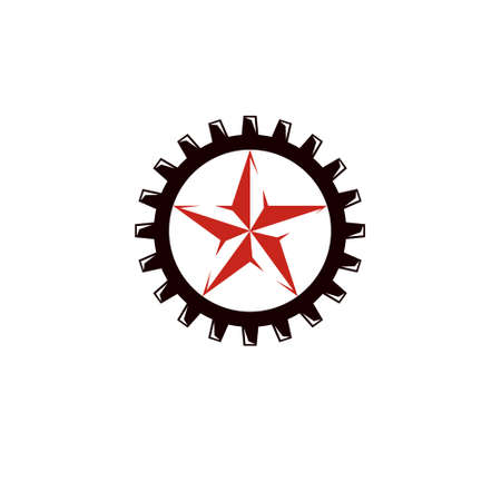 Vector star illustration composed surrounded by industry gearwheel. Empire of evil, dictatorship and manipulation theme  イラスト・ベクター素材