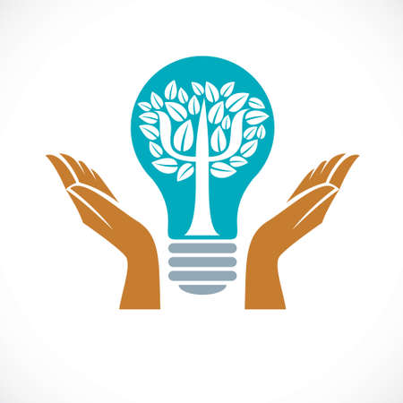 Psychology concept icon created with Greek Psi symbol as a tree with leaves inside of idea light bulb with tender caring hands of psychotherapist, mental health concept. Vektoros illusztráció