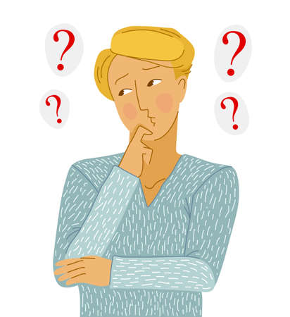 Young man thinking about question vector illustration isolated on white background, searching for answer, decision, help and assist.