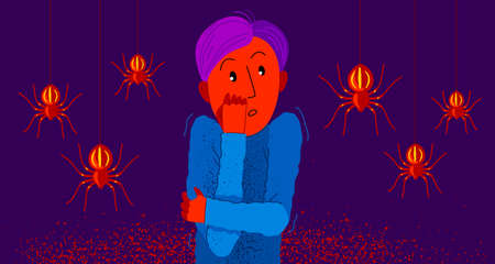 Arachnophobia fear of spiders vector illustration, boy surrounded by spiders scared in panic attack, psychology mental health concept.