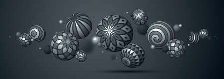 Abstract metallic spheres vector background, composition of flying balls decorated with patterns of shiny metal, 3D mixed variety realistic globes with ornaments, realistic depth of field effect.