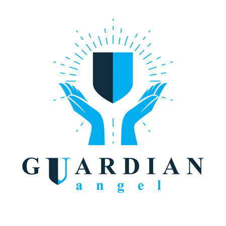 Shield vector graphic illustration, safety and security metaphor symbol. Guardian angel vector abstract emblem. Vecteurs
