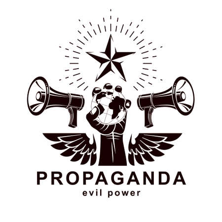 Presentation poster composed with loudspeakers, raised arm holds Earth globe, vector illustration. Propaganda as the means of global manipulation and control.