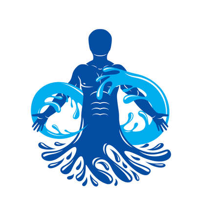 Vector graphic illustration of muscular human, mystic Poseidon composed with limitless symbol created from water wave. Continuous harmony of human and nature. 向量圖像