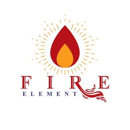 The power of burning flame, fire element abstract vector logo for use as marketing design symbol.