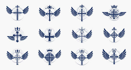 Religion crosses logos big vector set, vintage heraldic Christian emblems collection, classic style heraldry design elements, ancient designs, belief.