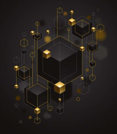 Abstract vector design with cluster of 3D cubes with golden elements vector design, luxury color style, jewelry classy elegant geometric design, shiny gold realistic abstraction. 向量圖像