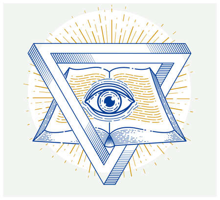 Secret knowledge vintage open book with all seeing eye of god in sacred geometry triangle, insight and enlightenment, masonry or illuminati symbol, vector logo or emblem design element. Vectores
