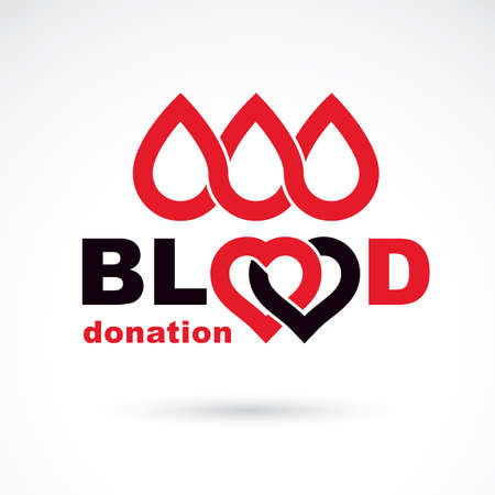 Blood donation conceptual illustration. World blood donor day logotype.