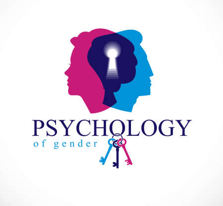 Gender psychology concept created with man and woman heads profiles and keyhole with key of understanding, vector logo or illustration of relationship problems and conflicts in family and society. Ilustracja