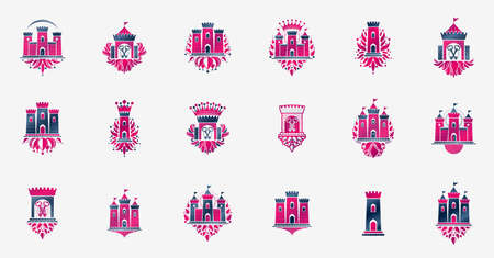 Fortresses emblems vector emblems big set, castles heraldic design elements collection, classic style heraldry architecture symbols, antique forts and citadels.