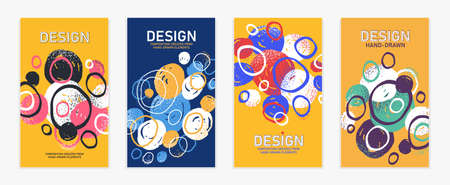 Artistic brochures vector abstract designs set with hand drawn splat elements 일러스트