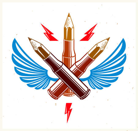 Idea is a weapon concept, weapon of a designer or artist allegory shown as a winged firearm cartridge cases with pencils instead of bullet, creative power, vector logo or icon.
