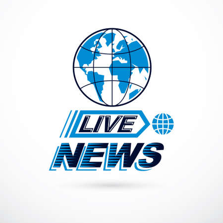 Live news inscription, journalism theme vector emblem created with Earth planet illustration.