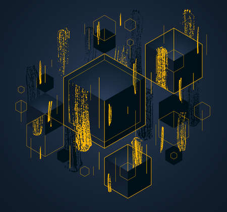 Abstract vector design with cluster of black 3D cubes with golden elements vector background, royal elite luxury geometric illustration, can be used for modern jewelry ad.