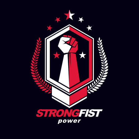 Vector symbol created using clenched fist of athletic strong man, protection shield, bird wings and different graphic elements. Fighter club conceptual logo. 向量圖像