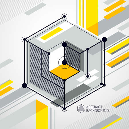 Trendy geometric vector pattern, textured abstract cube mesh yellow background. Technical plan, abstract engineering draft for use in graphic and web design.