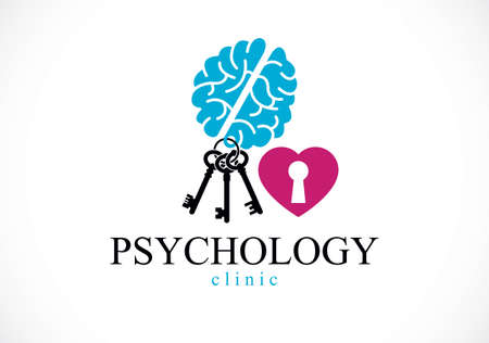 Mental health and psychology conceptual logo or icon, psychoanalysis and psychotherapy as a key to human mind concept. Vector simple classic design.