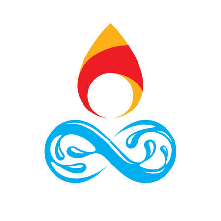 Continuous harmony between water and fire nature elements, vector limitless illustration for use in advertising.