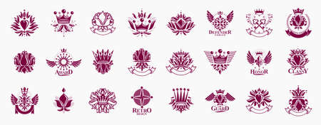 De Lis and crowns vintage heraldic emblems vector big set, antique heraldry symbolic badges and awards collection with lily flower symbol, classic style design elements, family emblems. 向量圖像