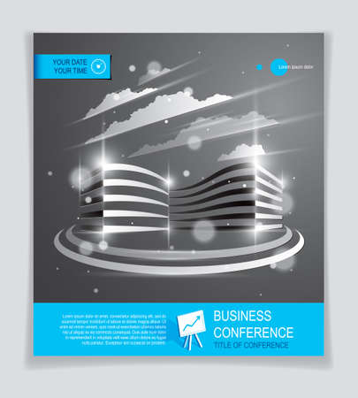 Futuristic building ad, modern vector architecture brochure with blurred lights and glares effect. Real estate realty business center grey design. 3D futuristic facade business conference template. Vektorgrafik
