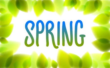 Spring word drawn on a window, fresh green leaves blurred background, vector realistic illustration, pure nature beautiful art.
