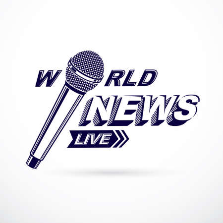 News and facts reporting vector composed using world news inscription and journalistic microphone equipment.