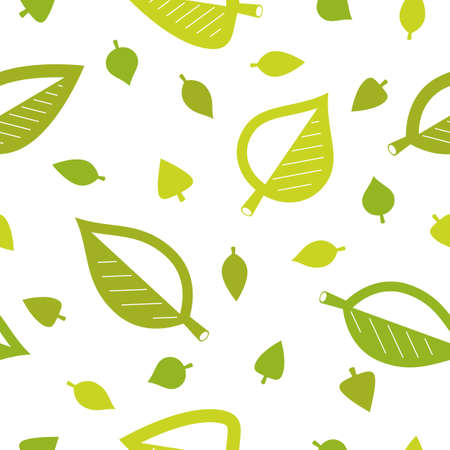 Stylish cartoon leaves seamless vector pattern, endless wallpaper or textile swatch with tree floral, green spring life theme. Ilustracja