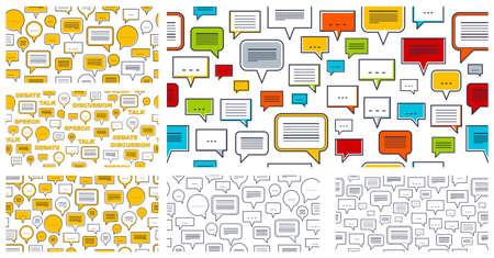 Speech bubbles seamless vector background set, endless pattern with dialog signs, talk and discussion theme, social media communication.