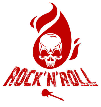 Skull on fire Rock and Roll vector or emblem, aggressive skull dead head in flames Hard Rock label, Punk music festival concert or club, musical instruments shop or recording studio.