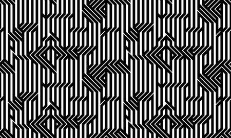 Tech style seamless linear pattern vector, monochrome circuit board lines endless background wallpaper image, black and white geometric design techno micro picture.