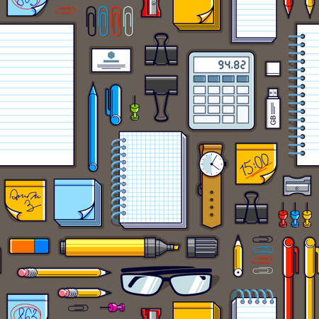 Work office desk top view with a lot of different stationery elements seamless vector wallpaper, business job theme image with diversity objects illustrations pic.