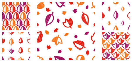 Stylish cartoon autumn leaves seamless vector pattern set, endless wallpaper or textile swatch with tree floral, red fall life theme image collection.