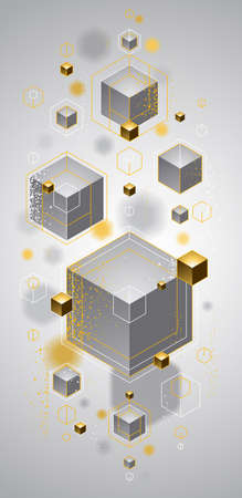 Abstract vector design with cluster of 3D cubes with golden elements vector design, luxury or jewelry color style, can be used for technology and science abstraction art. Ilustracja