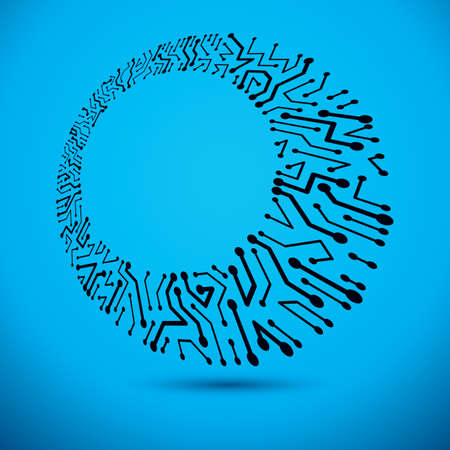 Technology communication cybernetic element. Vector abstract illustration of circuit board. Modern innovation technologies backdrop with clear copy space. Ilustracja
