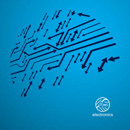 Vector circuit board with electronic components of technology device. Computer motherboard cybernetic abstraction. Electronic microprocessor with arrows.