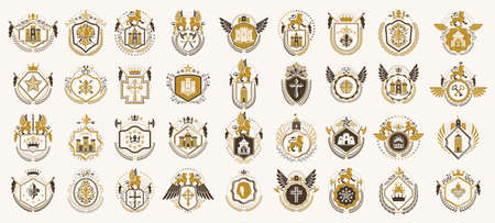 Heraldic Coat of Arms vector big set, vintage antique heraldic badges and awards collection, symbols in classic style design elements, family or business logos.